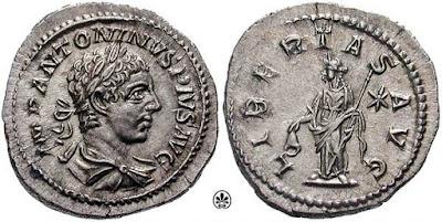 Antigua moneda romana muestra una representación similar a la Estatua de la Libertad.
