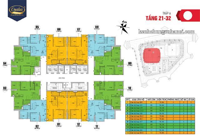 Mặt bằng tầng 21-32 tháp A Osaka Complex