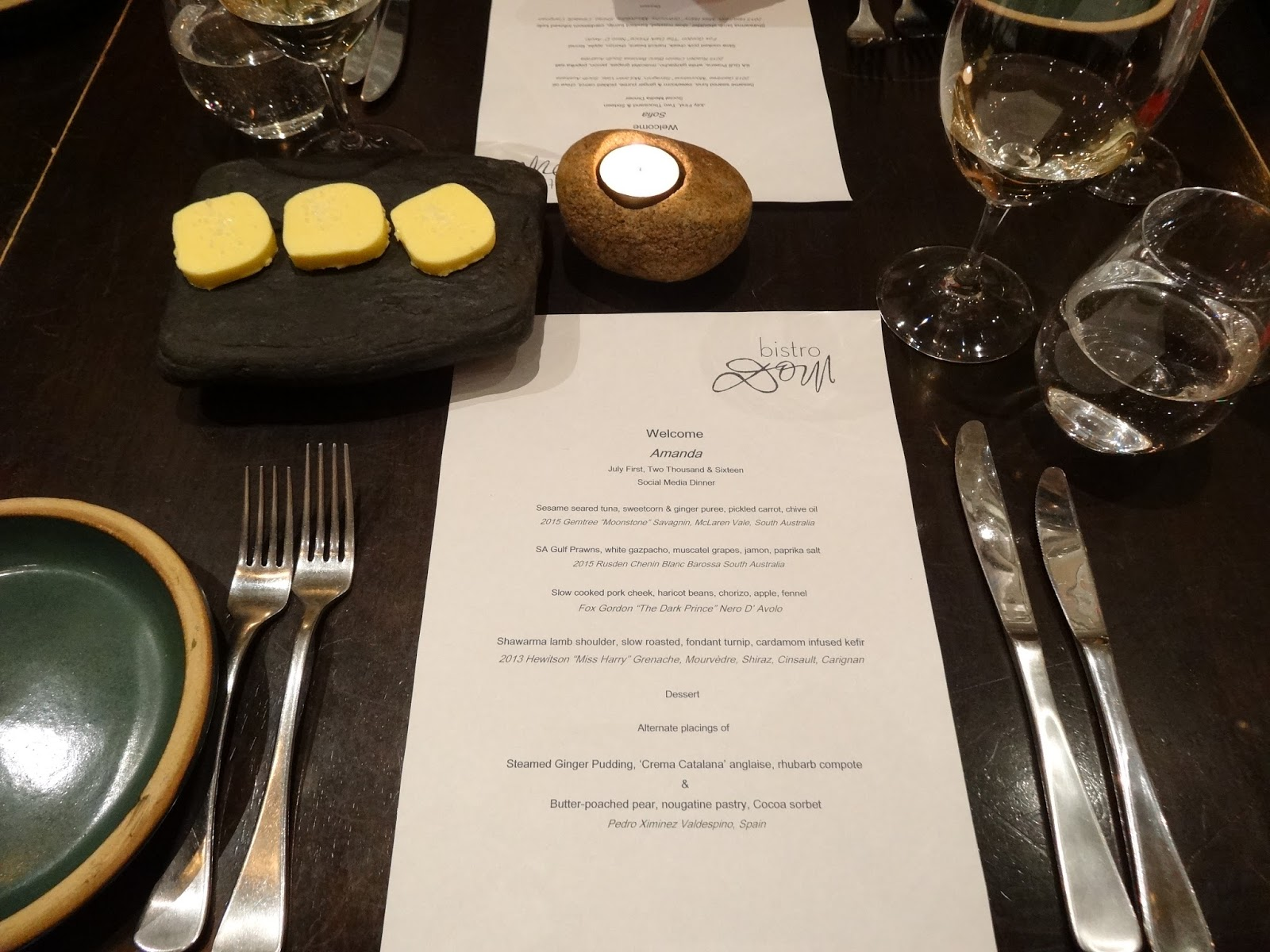 Bistro dom menu tasting degustation the chopping board for Table 52 menu