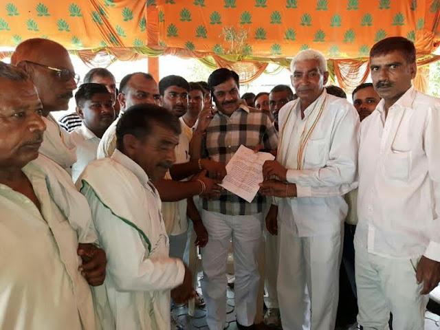 faridabad imt kisan majdoor sangharsh samiti meet with prithla mla tekchand sharma