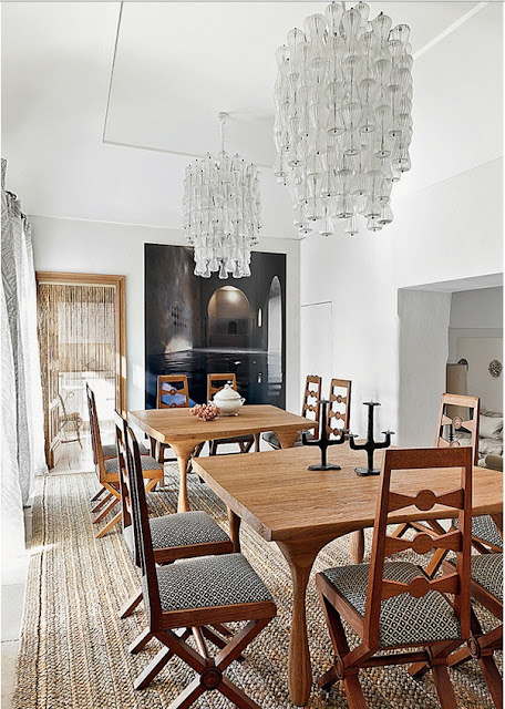Jean Louis Deniot Design dining room in Capri via belle vivir blog