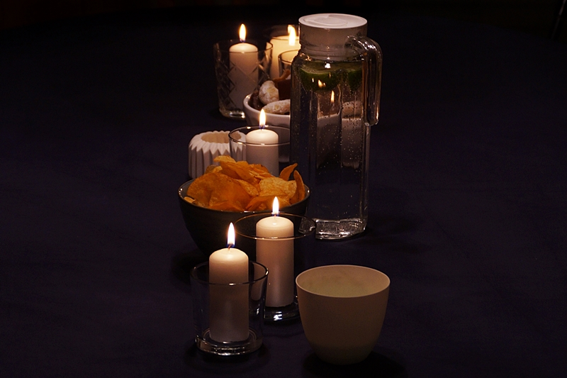 White Candles in Glasses Table Decoration