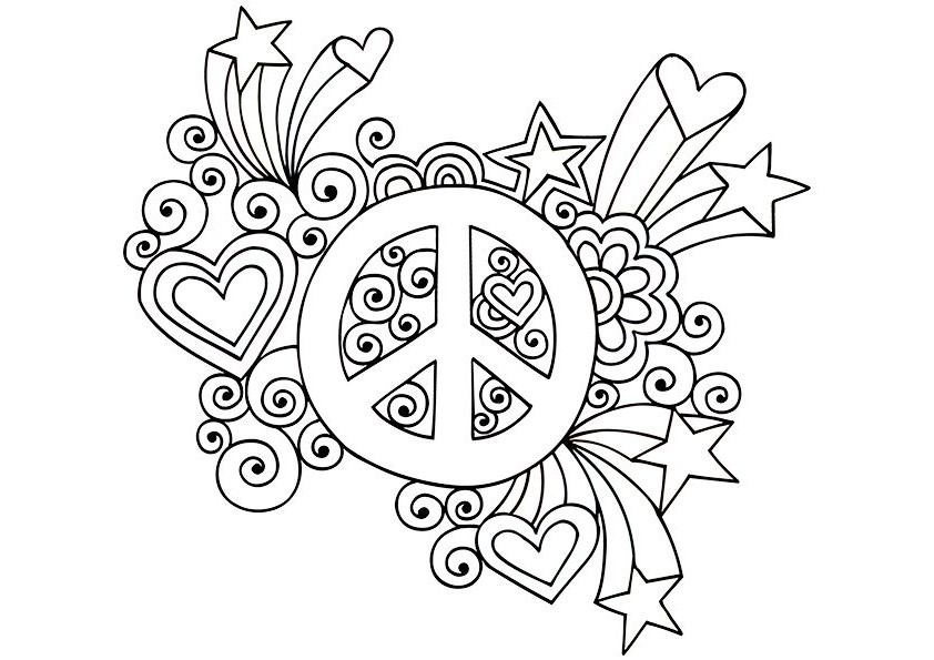 paisley coloring pages peace - photo#6