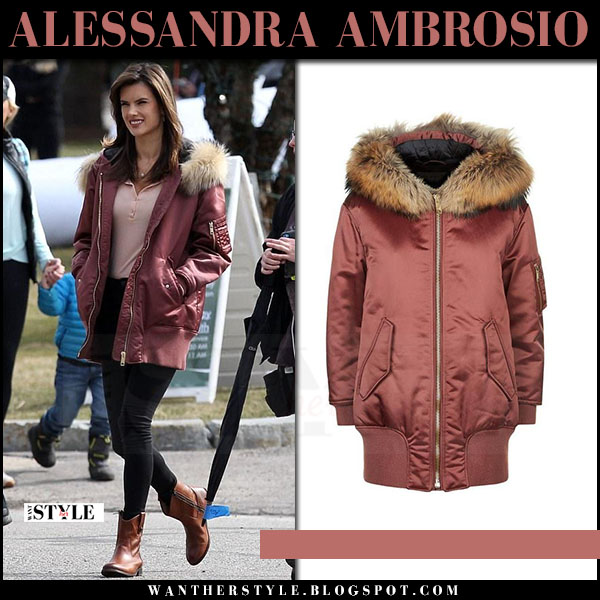 Alessandra Ambrosio in brown satin fur hood jacket burberry avonshire what she wore april 2017