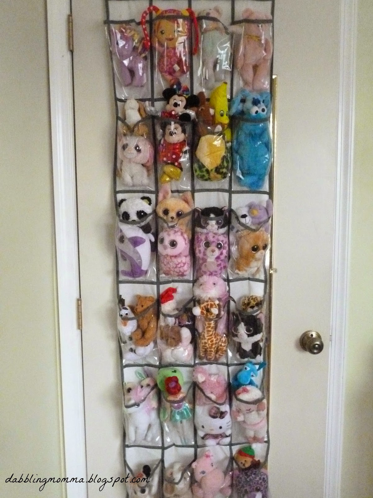 Shoe organizers are a great way to keep toys in order.