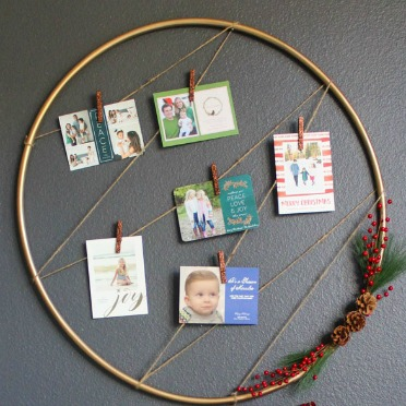 Turn a hula hoop into a card display