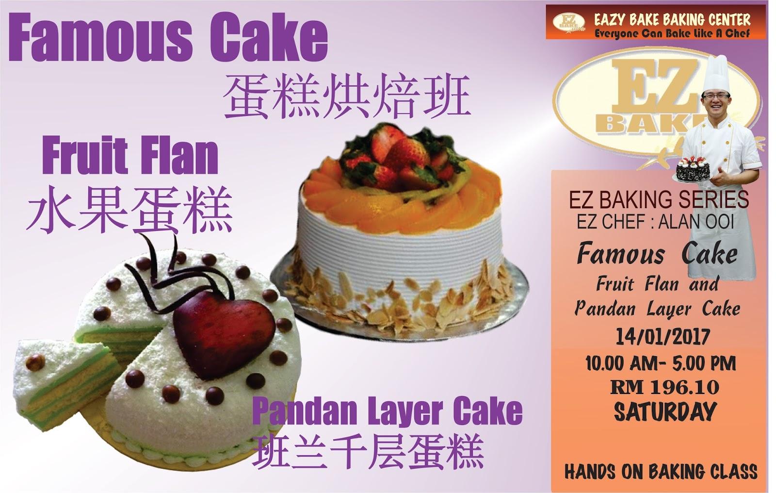 Baking Class in Penang: FRUIT FLAN & PANDAN LAYER CAKE ...