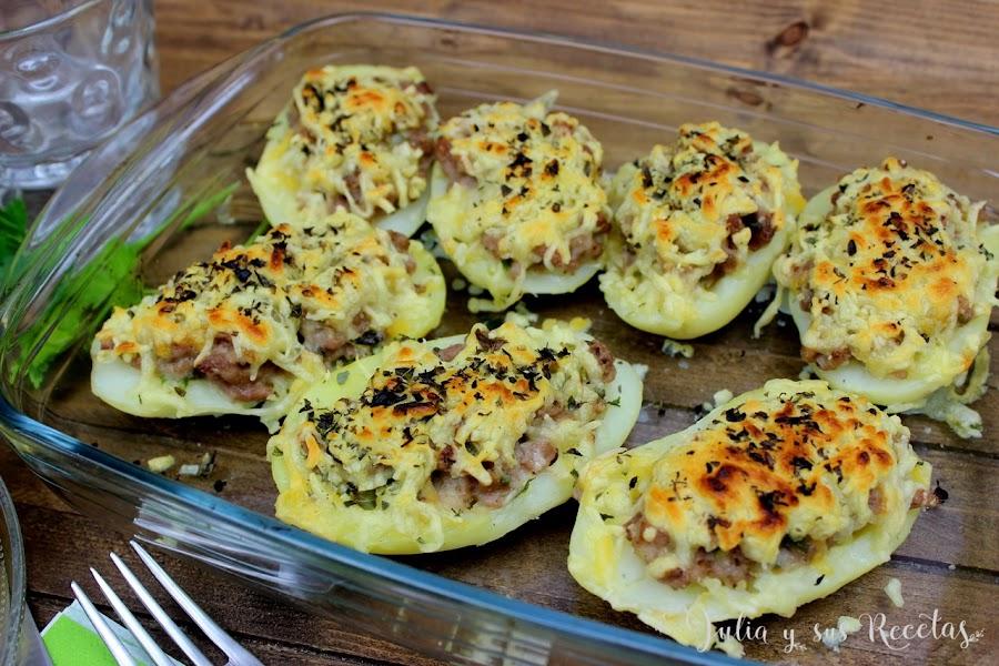 Patatas rellenas de carne gratinadas. Julia y sus recetas