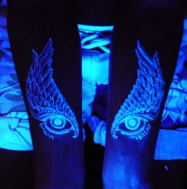 Eyes and wings UV Tattoos or Black Light Tattoos