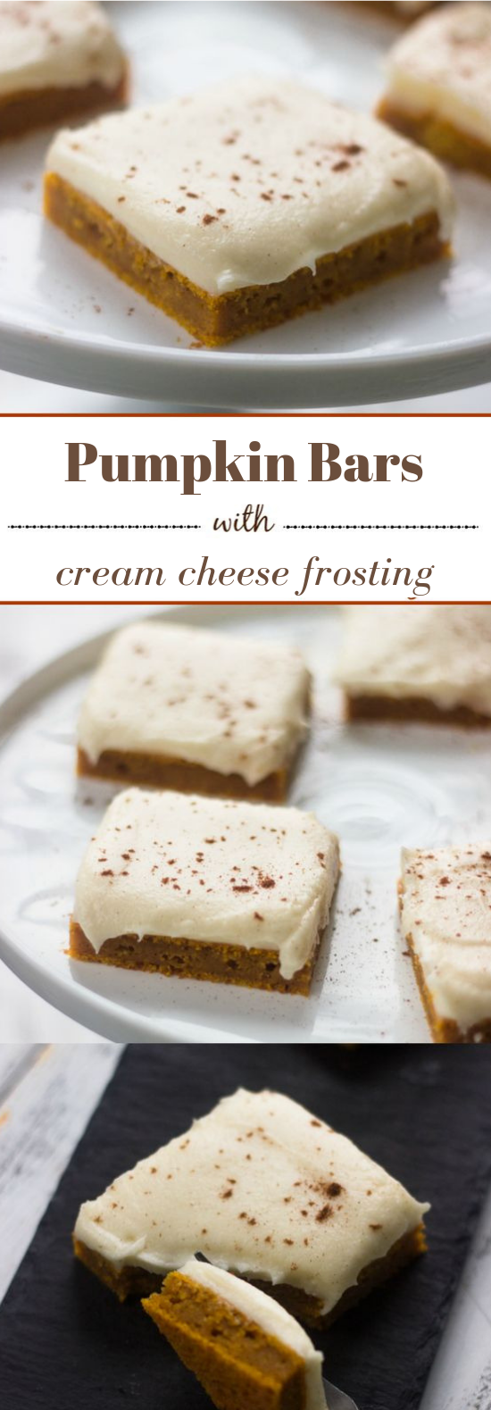 PUMPKIN BARS WITH CREAM CHEESE FROSTING #dessert #pumpkin
