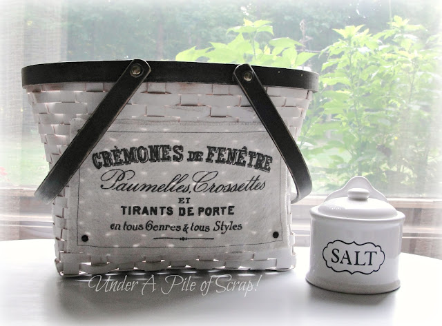 basket, painted decor, chalk paint, French inspired, black and white decor