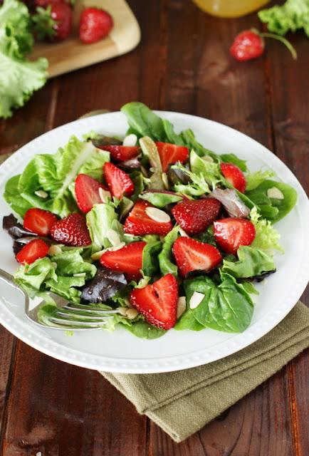 Strawberry & Greens Salad with Honey Vinaigrette