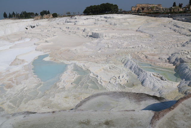 In ancient times, the travertines terraces were overflowing with water at Pamukkale Thermal Pools in Turkey