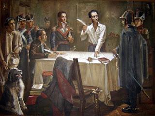 Firma del Decreto de Guerra a Muerte por Simón Bolívar