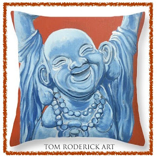 Abundance pillow 14 x14 by boulder portrait artist Tom Roderick