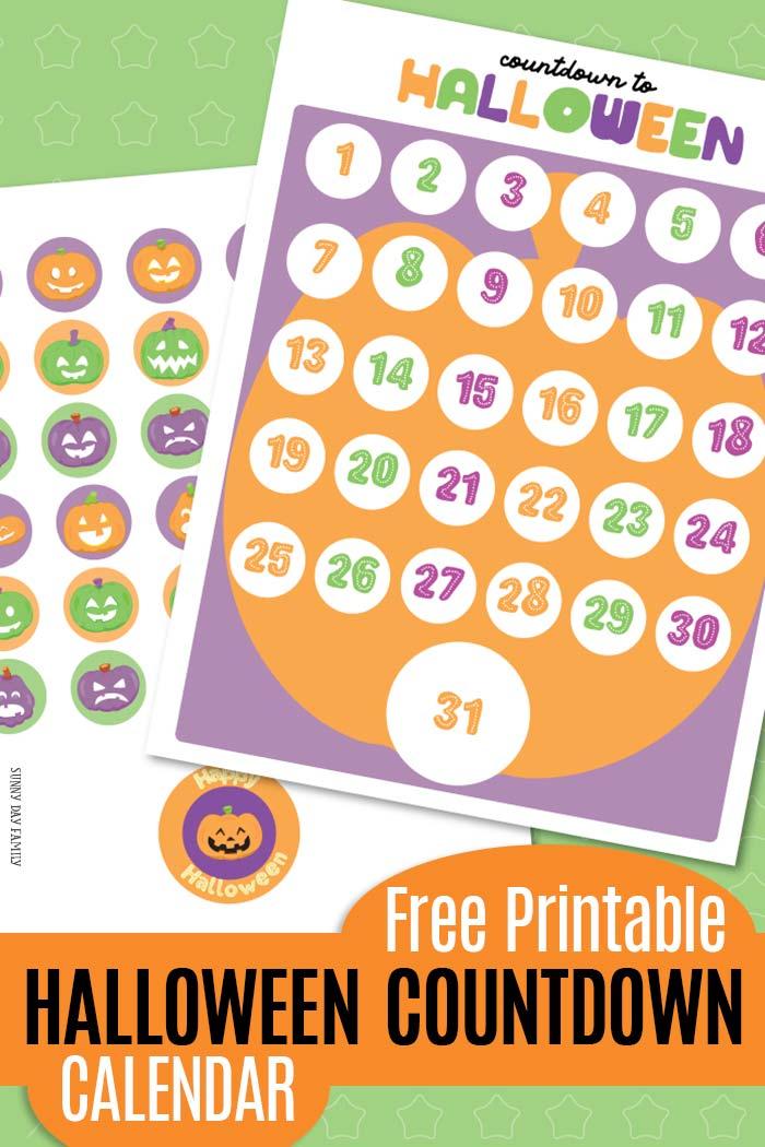 Free Halloween Countdown Calendar Printable with Jack O\u0027 Lantern