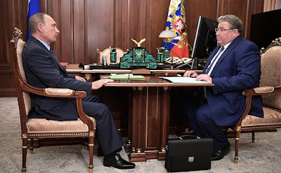 Vladimir Putin with Acting Head of the Republic of Mordovia Vladimir Volkov.