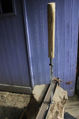 adding wooden handle to home-made guillotine
