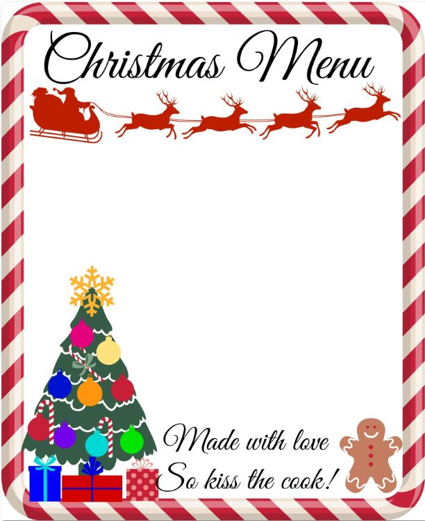 Printable A4 Christmas Menu With reindeer