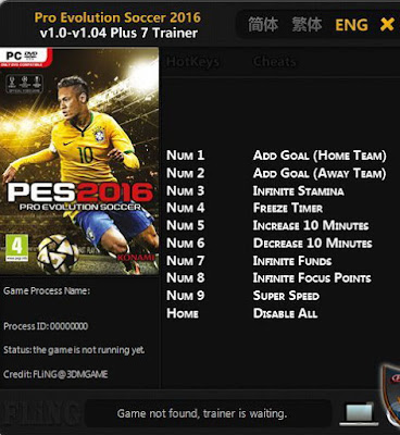 PES 2016 Trainer / Trainer (+7) [1.0 - 1.04] by FLiNG