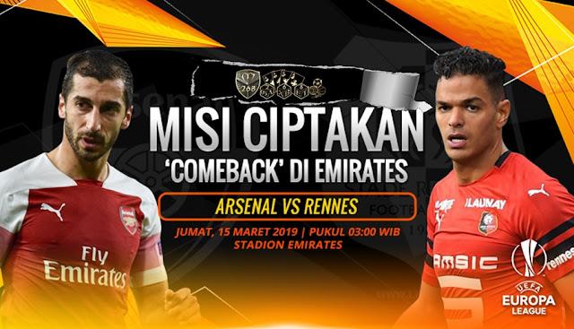 Prediksi Arsenal Vs Rennes, Jumat 15 Maret 2019 Pukul 03.00 WIB @ RCTI