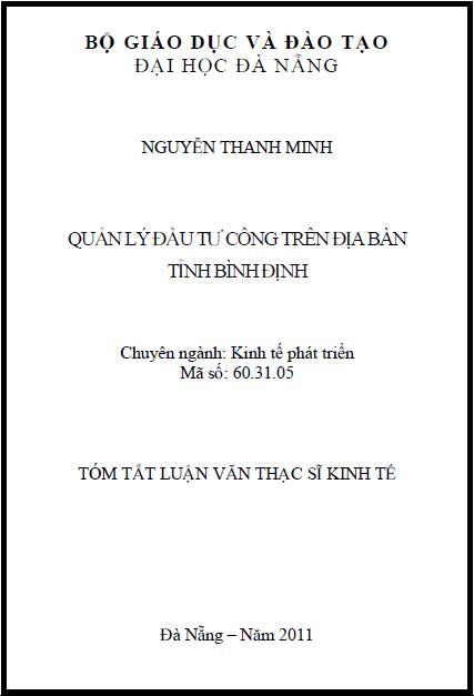 Quản lý đầu tư công trên địa bàn tỉnh Bình Định