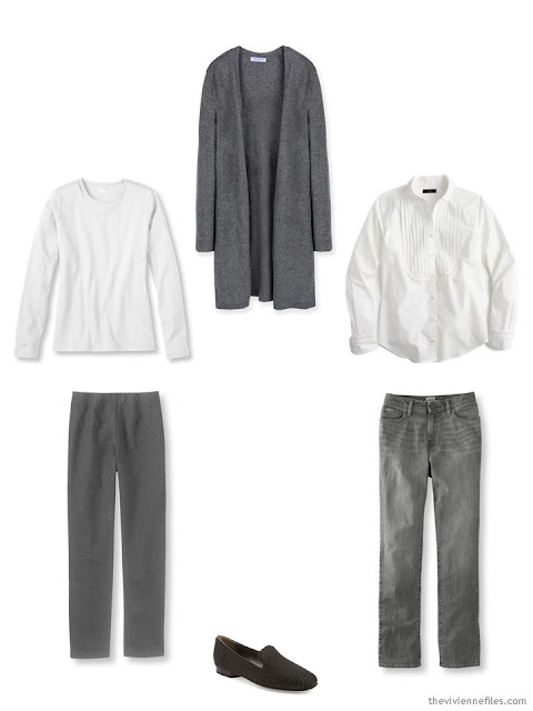 A core capsule wardrobe in grey and white