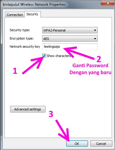 mengganti password wifi di laptop