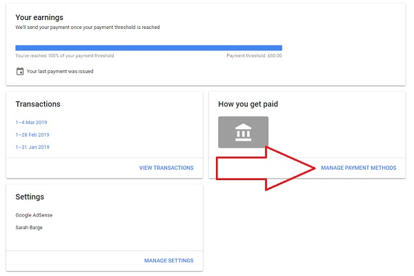 "Step 3: Click on ""Manage Payment Methods"" located in the ""How To Get Paid"" box"