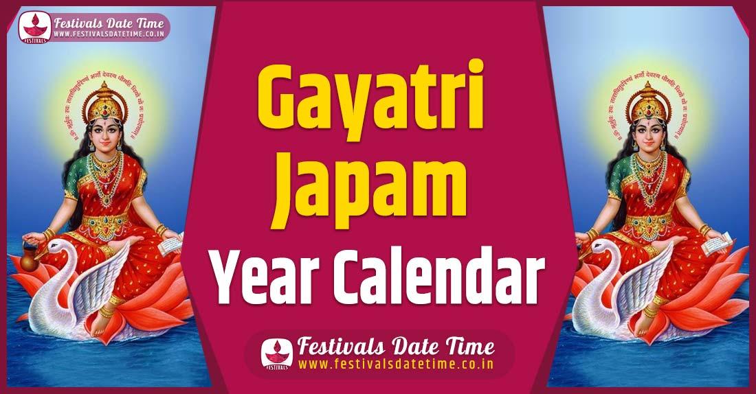 Gayatri Japam Year Calendar, Gayatri Japam Festival Schedule