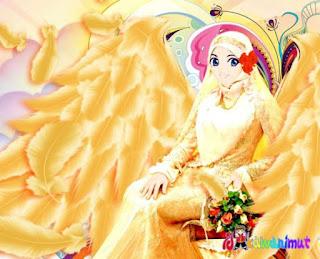 kartun gambar muslimah cantik berjilbab kuning
