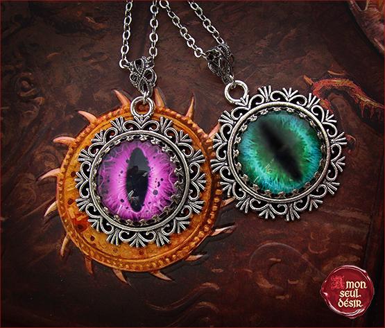 collier œil de dragon pendentif dragons bijoux médiévaux fantastique