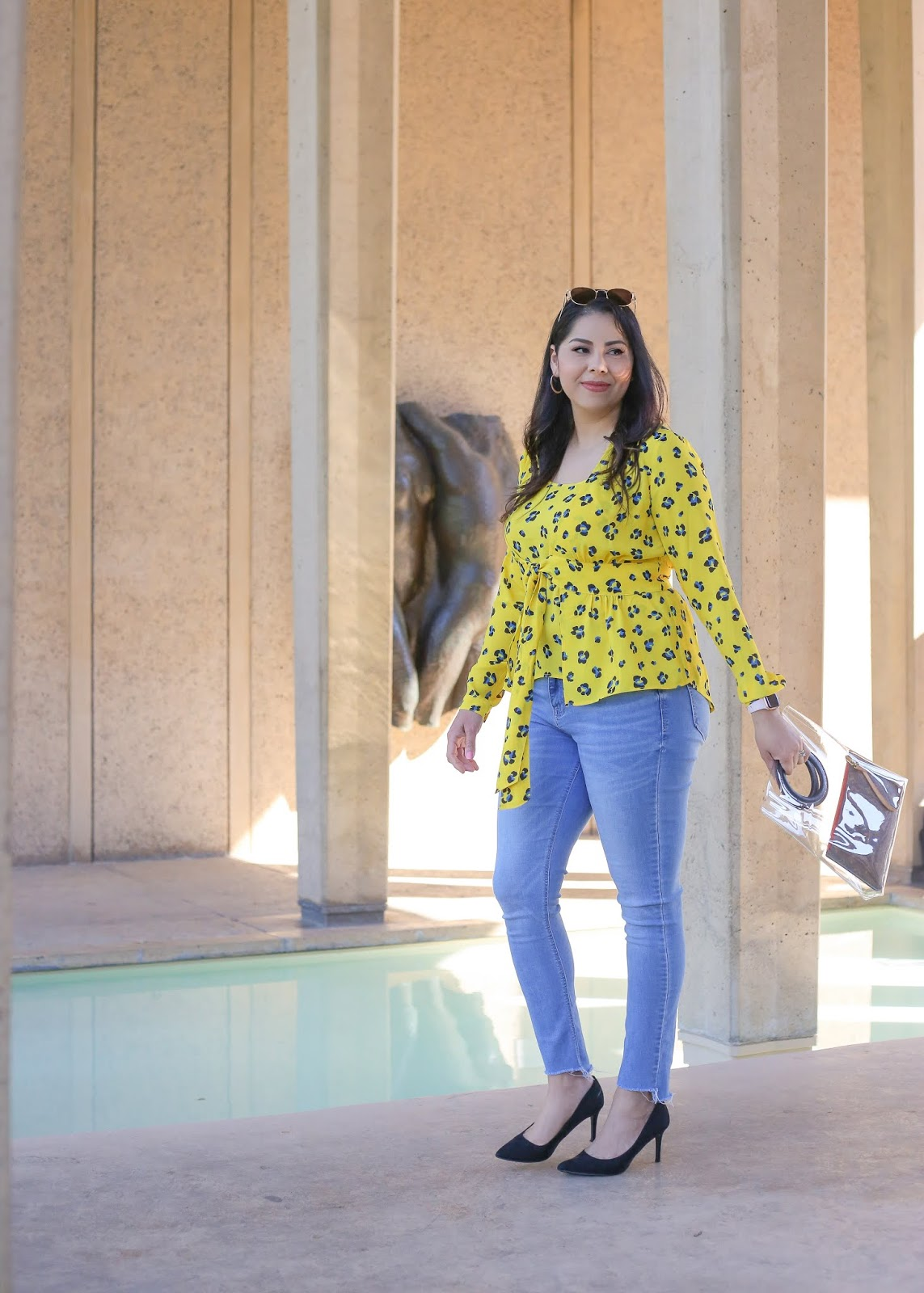 yellow top with jeans outfit idea, how to wear yellow this spring