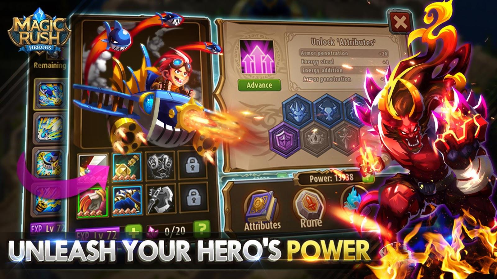 Hasil gambar untuk cara bermain Magic Rush Upgrade hero