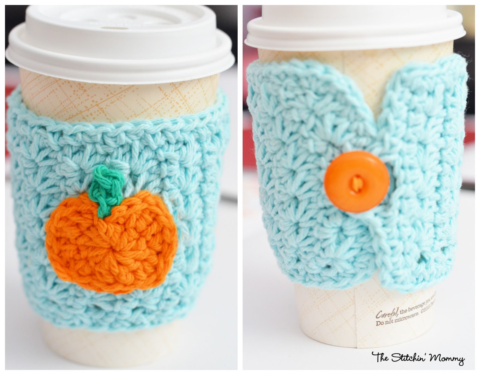 Crochet Star Stitch Pumpkin Coffee Cozy The Stitchin Mommy