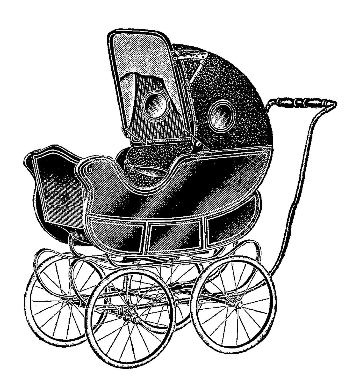 Digital Stamp Design Antique Baby Carriage Clip Art