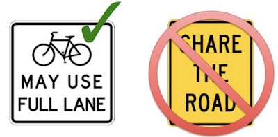 Bikes May Use Full Lane instead of Share the Road