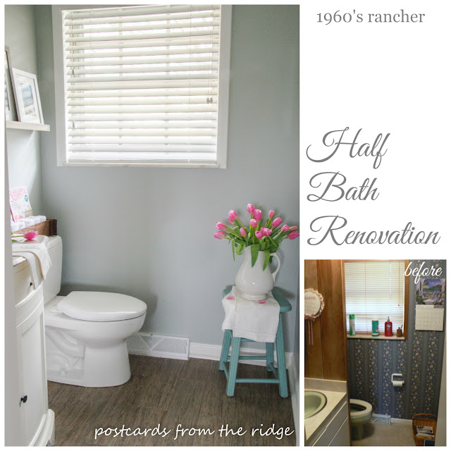 1960's rancher half bath reno. An ugly duckling turned into a swan! Love it. Postcards from the Ridge