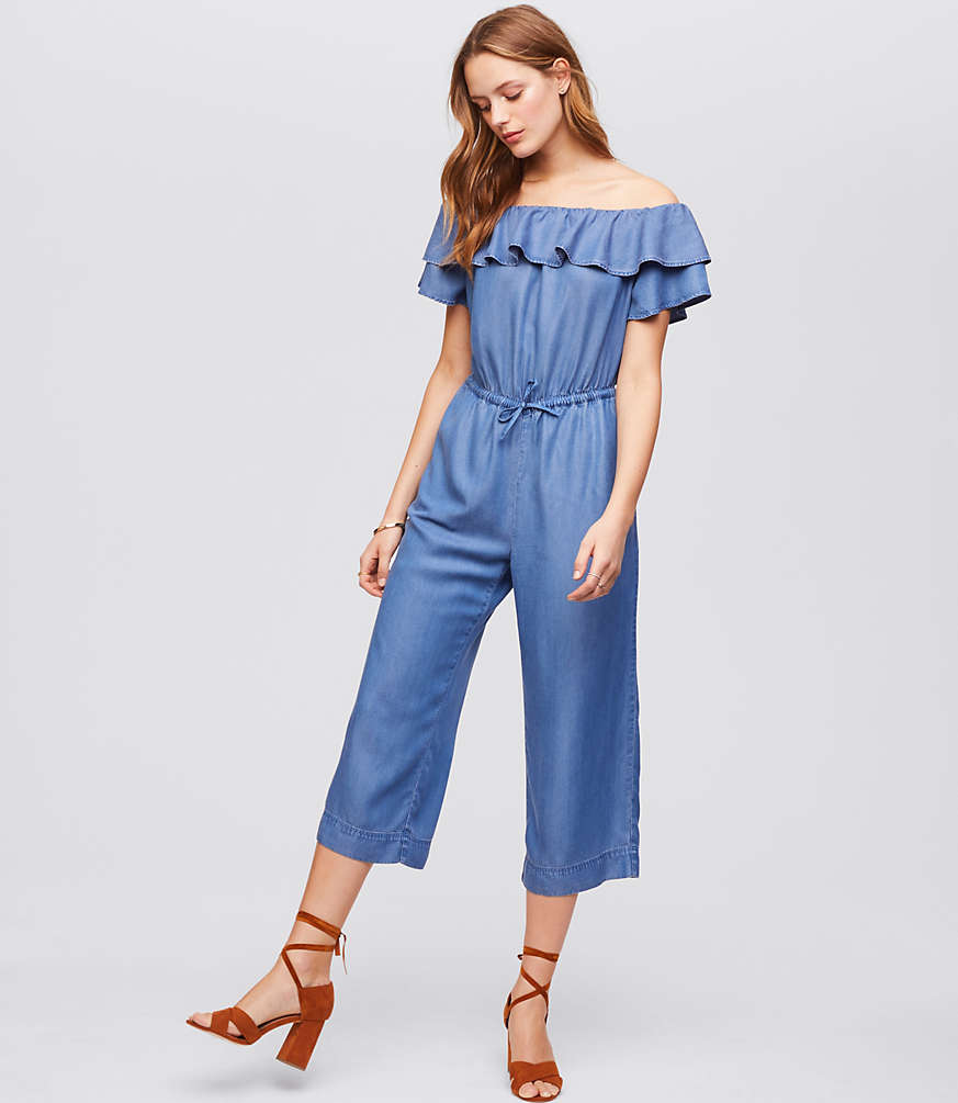 Off the Shoulder Chambray Jumpsuit