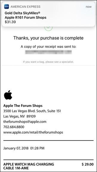 Ricevuta di pagamento con Apple Pay per acquisti all'interno dello Store
