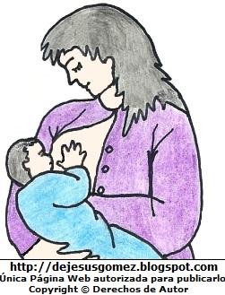 Bebé tomando su leche de los senos (teta) de la mamá. Dibujo de un bebe con su teta hecho por Jesus Gómez