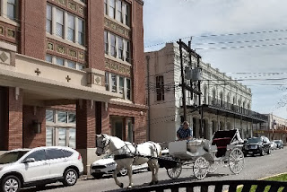 horse and buggy passing historic buildings
