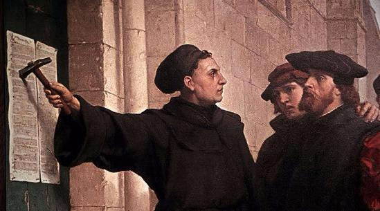 Martin Luther and the Protestant Reformation. Luther nailed his Ninety-five Theses to the door of All Saints' Church in Wittenberg on 31 October 1517.