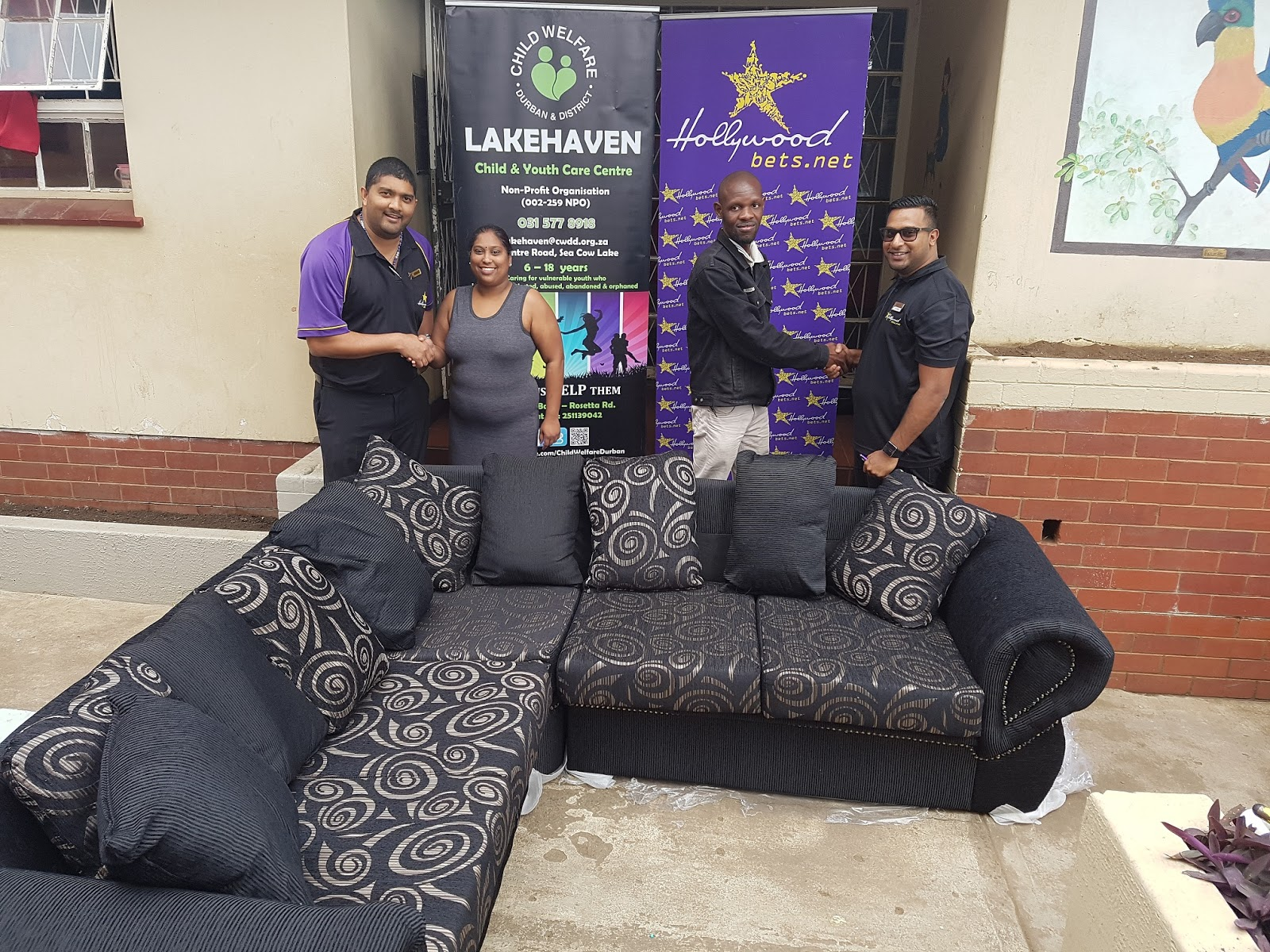Staff at Lakehaven are grateful for their new lounge suite donated by Hollywoodbets Springfield Park