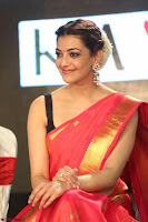 Kajal Aggarwal in Red Saree Sleeveless Black Blouse Choli at Santosham awards 2017 curtain raiser press meet 02.08.2017 025.JPG