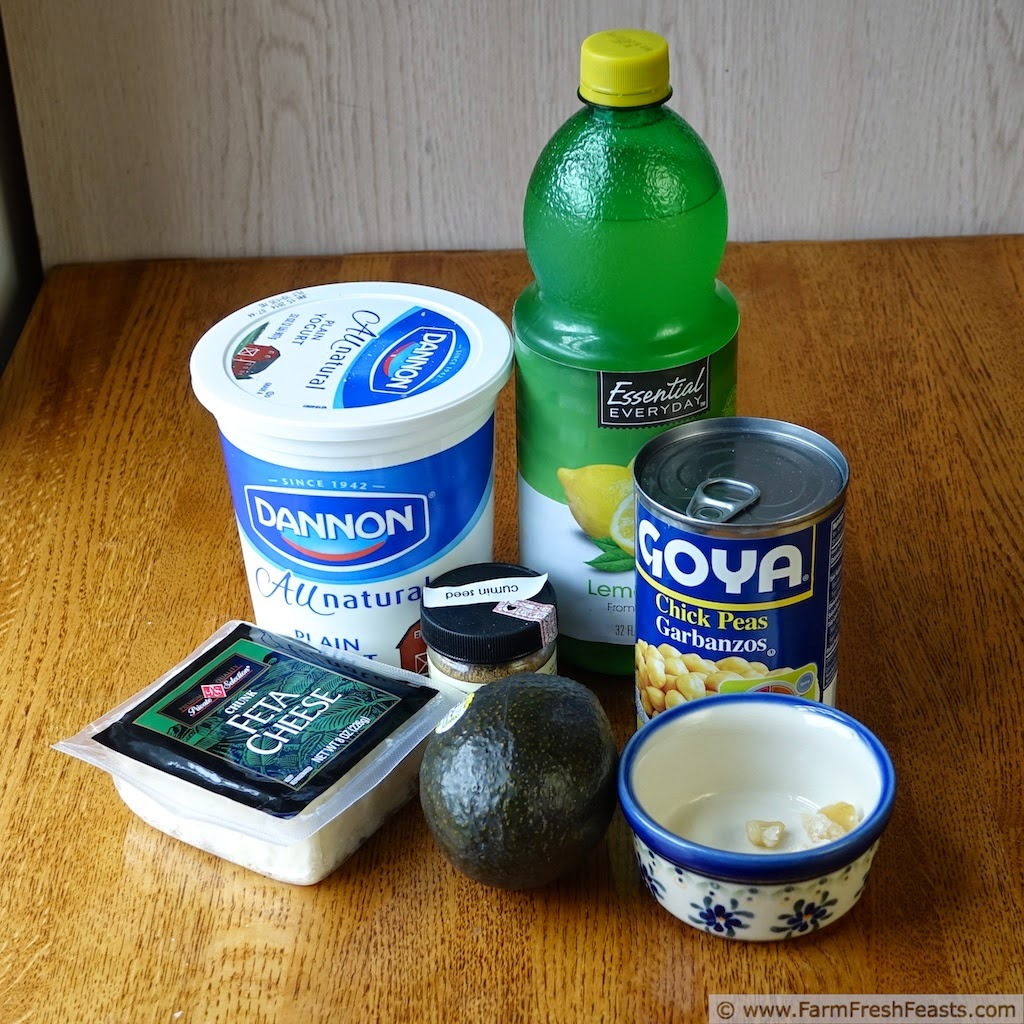 image of ingredients used to make avocado feta hummus