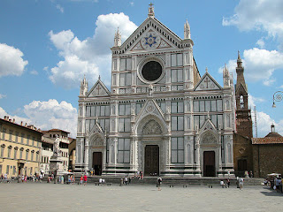 The facade of the beautiful Basilica of Santa Croce in Florence,  where Bracciolini was buried in illustrious company