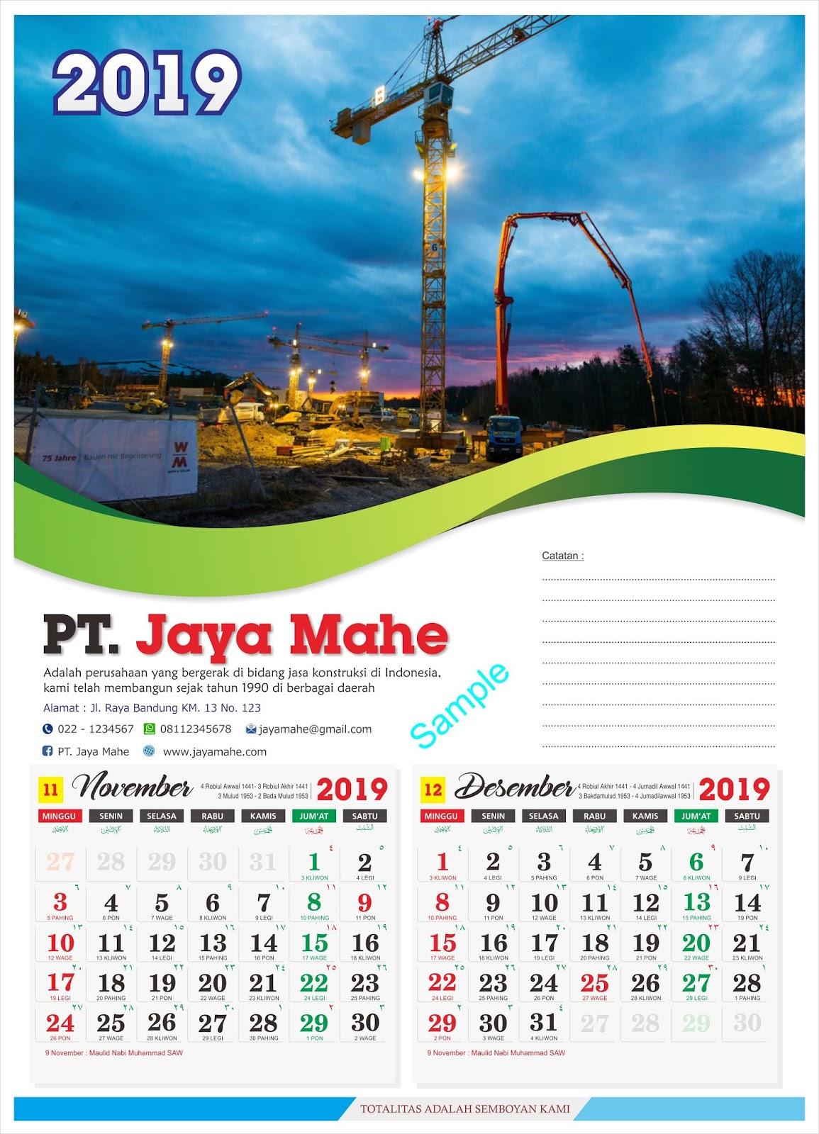 Download Templat desain Kalender 2019 lengkap penanggalan ...