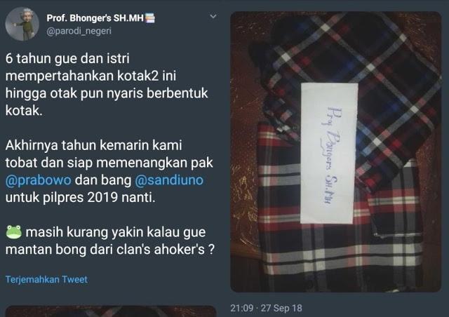 6 Tahun Bersama Kotak-kotak, Akhirnya Tobat, Siap Menangkan Prabowo-Sandi