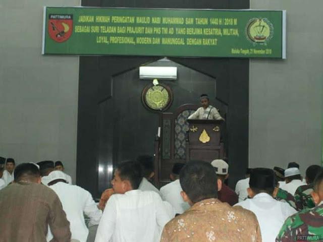 Rindam Pattimura Peringati Maulid Nabi Muhammad di Masjid At Taqwa Suli